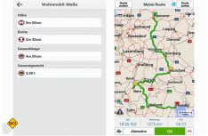 Für Reisemobile und Gespanne kann ein Profil mit Maßen und Gewichten angelegt werden. Die Routenführung sieht dann eine Reihe von Alternativrouten vor. (Foto: Werk)