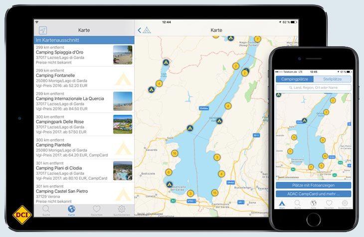 Auch 2017 wieder am Start: Die aktuellen Camping-App des ADAC listet Camping- und Stellplätze auf. (Foto: ADAC)