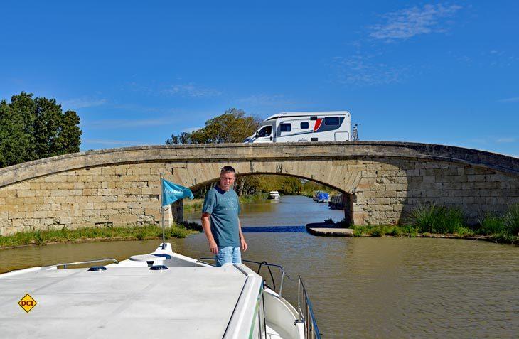 Wohnmobil und Hausboot am Canal du Midi - eine optimale Kombination. (Foto: det)