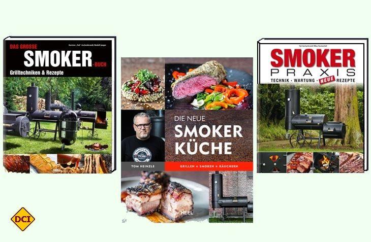 Drei starke Bücher zum Thema Grillen und Smoken aus dem Heel-Verlag Königswinter. (Foto: Verlag)