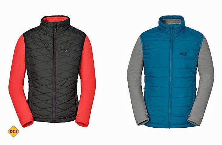 Die neuen Glen Dale Outdoor-Jacken von Jack Wolfskin kombinieren leichte Fleece-Jacken mit winddichten Westen. (Foto: Jack Wolfskin)