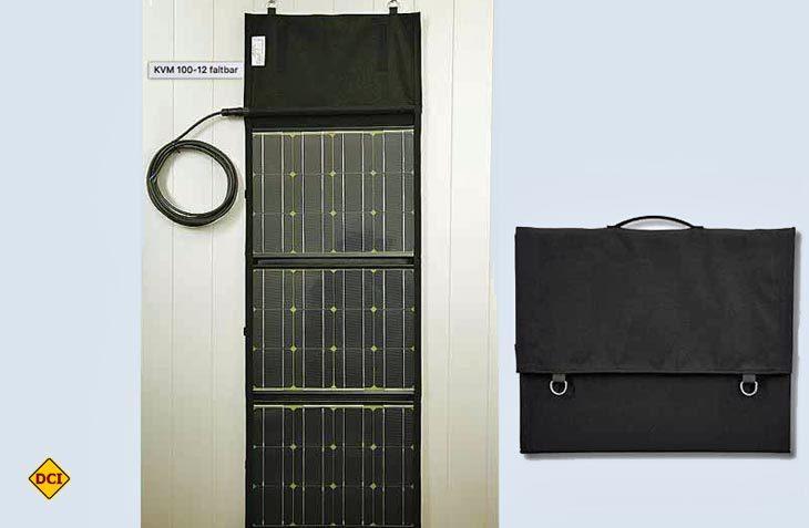 Solarswiss zeigt ein leistungsstarkes Solarmodul, das nach Gebrauch zusammengefaltet und in einer Tragetasche verstaut werden kann. (Foto: Werk)