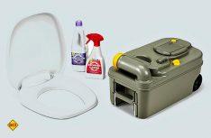 Das Fresh-Up-Set von Thetford besteht aus Toilettensitz mit Deckel, einer Cassette mit Rädern und Griff sowie Toilettenmittel und Reiniger. (Foto: Werk)