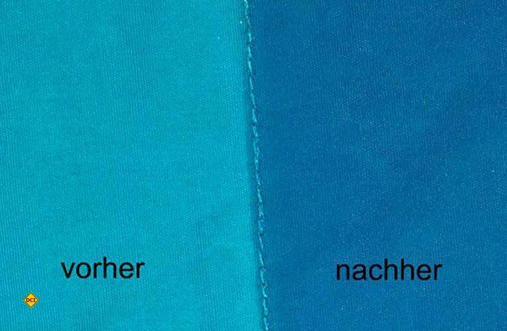 Vorher - nachher: Mit der färbenden Imprägnierung Acapella von Yachticon wird auch die Farbe von Markisen, Vorzelten und Sonnensegel aufgefrischt. (Foto: Werk)