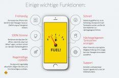 Die Tankstellen-App Fuel! läßt sich freihändig nur mit Spracherkennung öffnen und bedienen. (Foto: Fuel!)