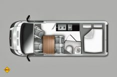 Klassischer Campingbus-Grundriss mit Halbdinette, Längsküche, geschlossenem Sanitärraum und einem Heckquerbett. (Grafik: Westfalia)