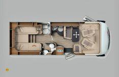 Die Baureihe c-compactline bekommt zwei neue Grundrisse: Hier der I 144 LE mit Einzelbetten im Heck. (Grafik: Werk)