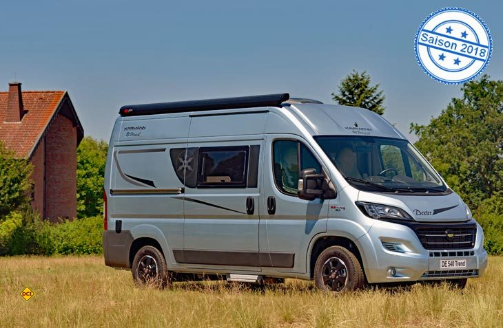 Die Karmann Campingbusse der Saison 2018 erhalten nun eine einheitliches Außendesign mit dem markanten Karmann-Rad. Hier der neue Dexter 540 Trend. (Foto: det)