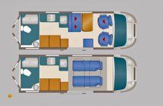 Der Grundriss des neuen Dexter 595 mit Heckbad und Hubbett. (Grafik: Werk)