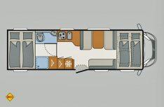Der Grundriss des neuen Dethleffs Globetrotter XXL-A 9050-2. (Grafik: Werk)