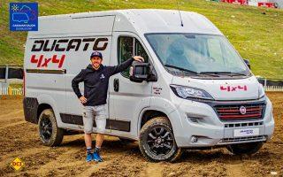 Zur Zeit noch ein Showcar in Erprobung, hier mit Motocross-Star Tony Cairoli. Der Fiat Ducato kommt als 4x4-Version ab Werk auf den Markt. (Foto: FCA)