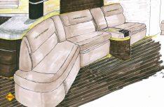 Erste Zeichnung der neuen Havanna Lounge-Sitzgruppe im Centurion. (Foto: Werk)