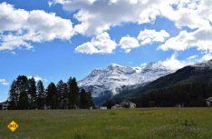 Die kleine Gemeinde Sils vor schneebedeckten Bergen (Foto: hcb)