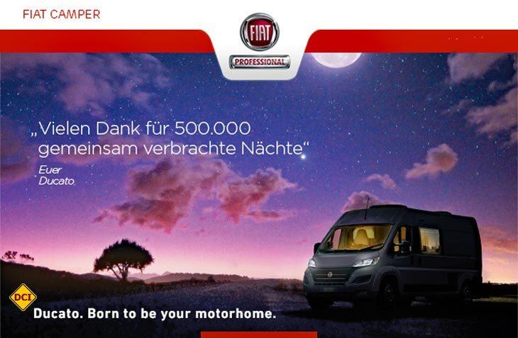 Seit 35 Jahren ist der Fiat Ducato im Reisemobilbereich die Nummer 1. Über 500.000 Ducatos sind in den letzten zehn Jahren auf dieser Basis gebaut worden. (Foto: Fiat Camper)
