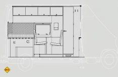 Schnittzeichnung wie vom Architekten: Der Blick auf die linke Seite des Ausbaus. (Zeichnung: Klinke)
