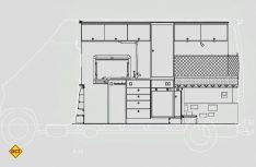 Schnittzeichnung wie vom Architekten: Der Blick auf die rechte Seite des Ausbaus. (Zeichnung: Klinke)