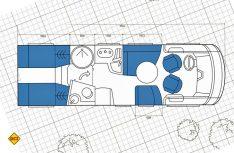 Der Grundriss des neuen Arto 77 E von Niesmann + Bischoff. Zehn Zentimeter mehr an Länge bringen bessere Bettenmaße bei den Einzelbetten im Heck. (Grafik: Niesmann + Bischoff)