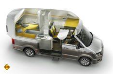 Der VW California im Schnitt: VW hat ein neues Wohnraumkonzept realisiert. (Foto: Werk)