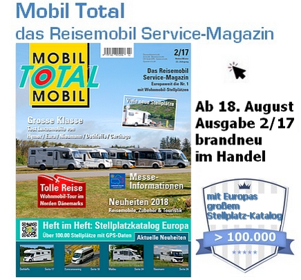 MobilTotal das Reisemobil Service-Magazin - mit Europas größtem Stellplatz-Katalog (Foto: MobilTotal)