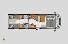 Grundriss Dethleffs Globetrotter XL I 7850-2 EB. (Grafik: Werk)