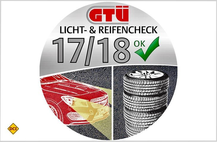 Die Plakette zum GTÜ-Licht- & Reifencheck 2017. (Grafik: GTÜ)