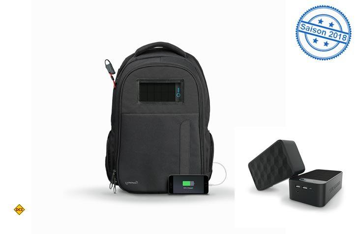Lifepack-Rucksäcke vereinen hohen Tragekomfort als Reisegleiter und einen sicheren Platz für das mobile Büro. Eine solarbetriebene Powerbank versorgt den Träger mit Strom. (Foto: Lifepack)