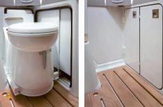 Die Toilette verschwindet platzsparend unter dem Heckbett und erweitert so den Platz im Sanitärraum. (Foto: Werk)