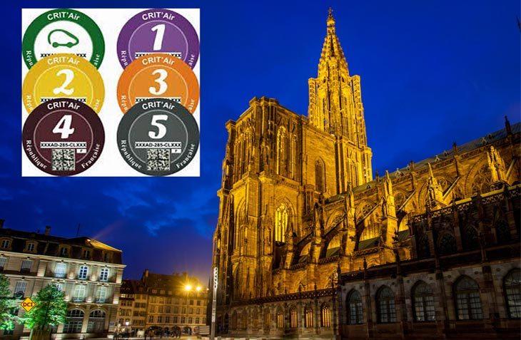 Straßburg ist die fünfte Großstadt in Frankreich, die bei Luftverschmutzungsalarm nur noch Fahrzeuge mit einer Umweltplakette Crit´Air einfahen läßt. (Foto/Montage: D.C.I.)
