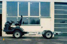 Ein abenteuerliches Versuchmodell des ersten Chassis. (Foto: D.C.I-Archiv / Al-Ko)
