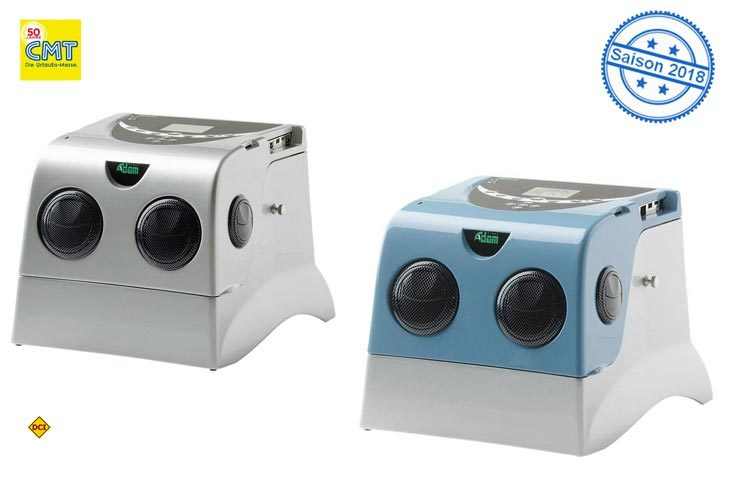Adam EU 4500 und EU 6750 sind tragbare Klimageräte des italienischen Herstellers Adam Fresh mit Verdunstungskühler und unabhängiger Stromversorgung für drinnen und draußen. (Foto: Adam)