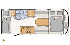 Der Grundriss des neuen Dethleffs Caravan c´loy 480 QLK. (Grafik: Dethleffs)