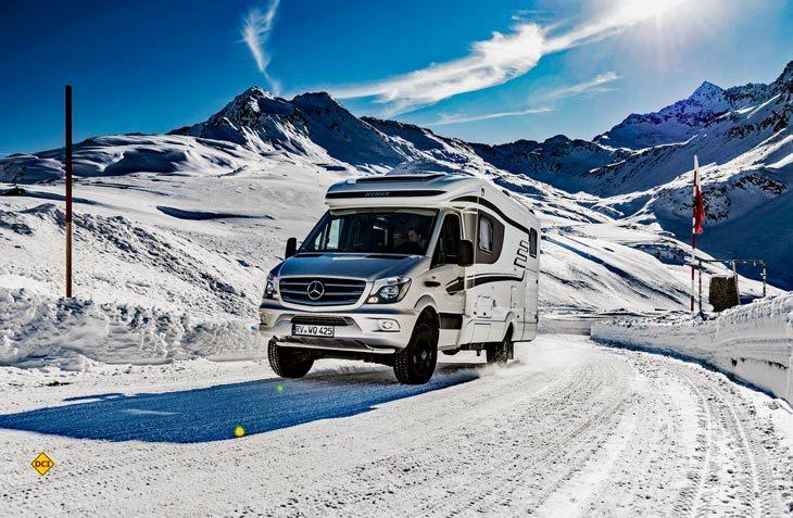Wintercamping boomt: Das erfordert wintertaugliche Freizeitfahrzeuge mit besonderen Voraussetzungen. (Foto: Hymer)