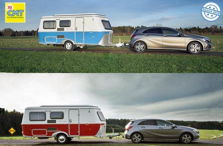 Mit zwei knalligen Sondermodellen im nostalgischen US-Look kommt Eriba auf die CMT 2018. (Foto: Eriba)