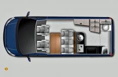 Der Grundriss des Ford Nugget Plus: Mehr Platz und Bewegungsfreiheit und ein Sanitärraum zeichnen die längere Nugget-Version aus. (Foto: Werk)
