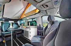 Westfalia hatt bereist früher eine pfiffige Campingbus-Variante namens Michelangelo im Programm. Hier ein Blick in den Innenraum. (Foto: Westfalia)