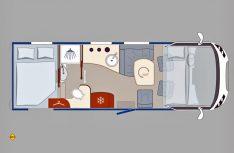 Der Grundriss des neuen Eura Mobil Integra 700 HB mit vorgelagertem Raumbad vor dem Heckbett. (Grafik: Eura)
