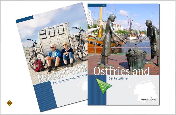 """Das neue Urlaubsmagazin """"Ostfriesland – Der Reiseführer"""" bündelt in neun Themenrubriken rund 350 Ausflugstipps für die Region Ostfriesland. (Foto: Ostfriesland Tourismus)"""