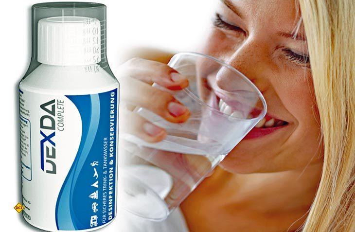 Mit dem Trinkwasser-Desinfektionsmittel Dexda Complete stellt WM Aquatec einen wirksamen Schutz für das Trinkwasser in Freizeitfahrzeugen vor. (Foto: WM Aquatec)