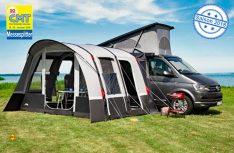 dwt-Zelte war 2013 der erste deutsche Hersteller, der Zelte mit Luftkammern statt herkömmlichem Gestänge auf den deutschen Markt brachte. Hier das Buszelt Patron Air HQ. (Foto: dwt)