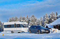 Hobby hat zwei Wohnwagen im harten subarktischen Winter am schwedischen Polarkreis getestet. (Foto: Hobby)