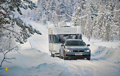 Bei bis zu Minus 18 Grad aboslvierten die Hobby Caravans im schwedischen Lappland den strengen Winter-Test. (Foto: Hobby)