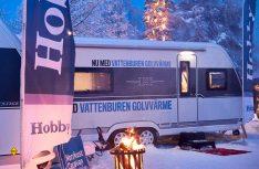 Wintercamping und ein wärmender Feuerkorb passen exzellent zusammen. (Foto: Hobby)