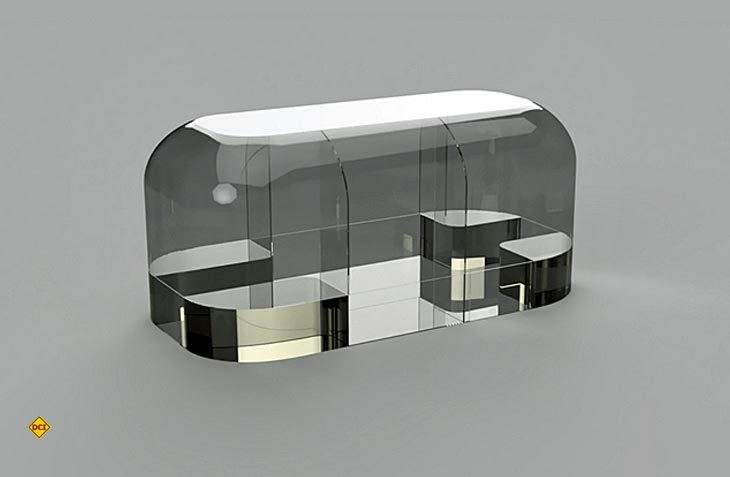 """So soll der Aufbau des ersten Wohnwagens in 3D-Print aussehen. Ein 3D-Modell von """"The Wave"""" der Firma Makers. (Foto: Create Café 3D Printing Solutions Inc.)"""