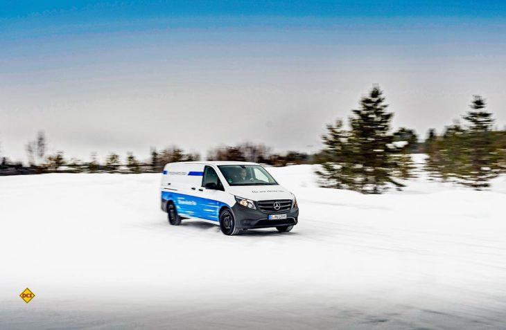 Die e-Mobilität scheint serienreif zu werden: Der Mercedes-Benz eVito hat den Härtetest am Polarkreis mit Bravour bestanden. (Foto: Mercedes-Benz)