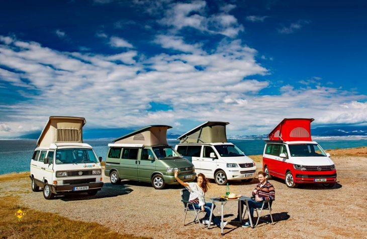 30 Jahre und vier Generation VW Transporter: Der VW California hat die Freizeit weltweit mobil gemacht. (Foto: Werk)