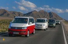 Vier Generationen VW California und die Fahrt geht mit Volldampf weiter. (Foto: Werk)
