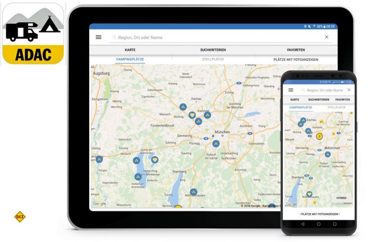 Mit der neuen ADAC Camping- und Stellplatzführer App 2018 ist die digitale Urlaubsplanung zuhause und unterwegs jetzt noch einfacher. (Foto: ADAC)