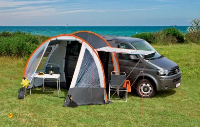 Speziell für Campingbusse hat dwt mit dem Picco ein kompaktes und einfach aufzubauendes Vorzelt im Angebot. (Foto: Dwt)