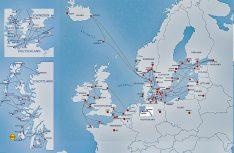 Auch Nordeuropa kann mit einem dichten Streckennetz nach Snadinavien, Britische Inseln bis ins Baltikum aufwarten. (Grafik: VFF)