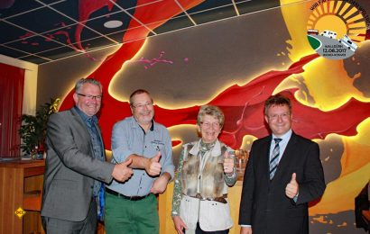 Im Goldschmitts in Walldürn: Treffen der Unterstützer des Konvoi2018_v.lks. MdB Alois Gerig, Dieter Goldschmitt, Botschafterin Maria Dhonau und Landrat Achim Brötel.(Foto: Goldschmitts)